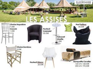 Location de mobilier - Elleorganise - Les assises