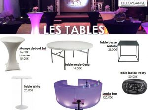 Location de mobilier - Elleorganise - Les tables