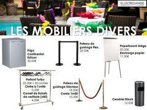 Location de mobilier - Elleorganise - Les mobiliers divers