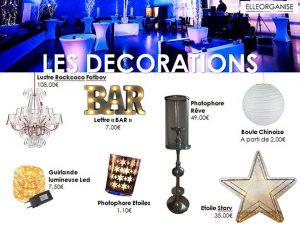 Location de mobilier - Elleorganise - Les décorations