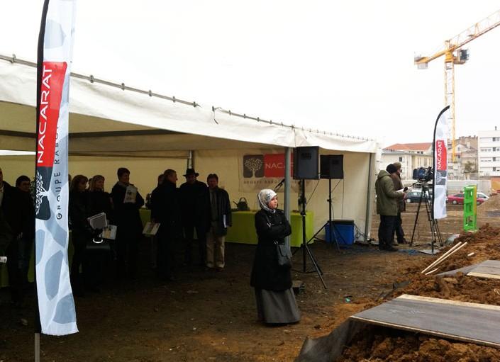 Plantation d'arbres de l'opération immobilière Côté Sablon à Metz – Nacarat
