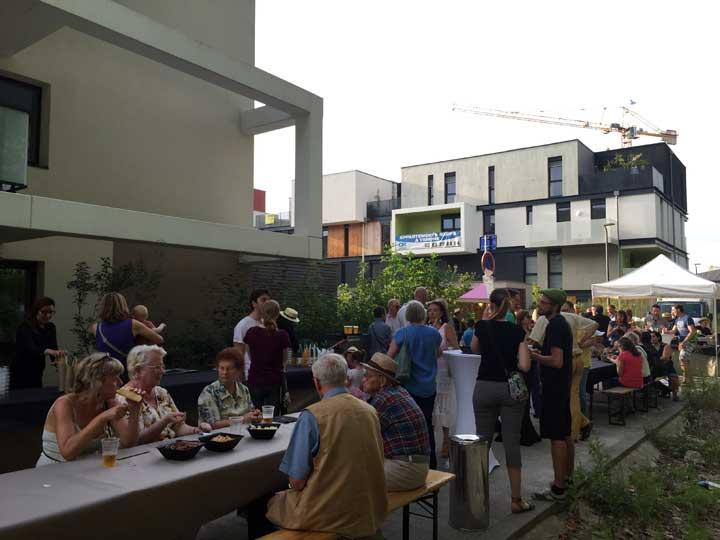 Apéritif des nouveaux résidents de l'Ecoquartier des Brasseries à Strasbourg